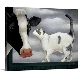 Cow and Cat by Lowell Herrero Wall Art on Wrapped Canvas by Great Big Canvas