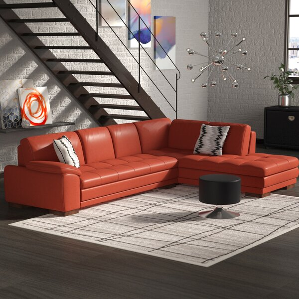 #1 Amira Leather Sectional By Orren Ellis Best Choices