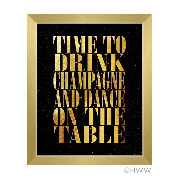 Time To Drink Champagne Framed Textual Art in Gold by Click Wall Art