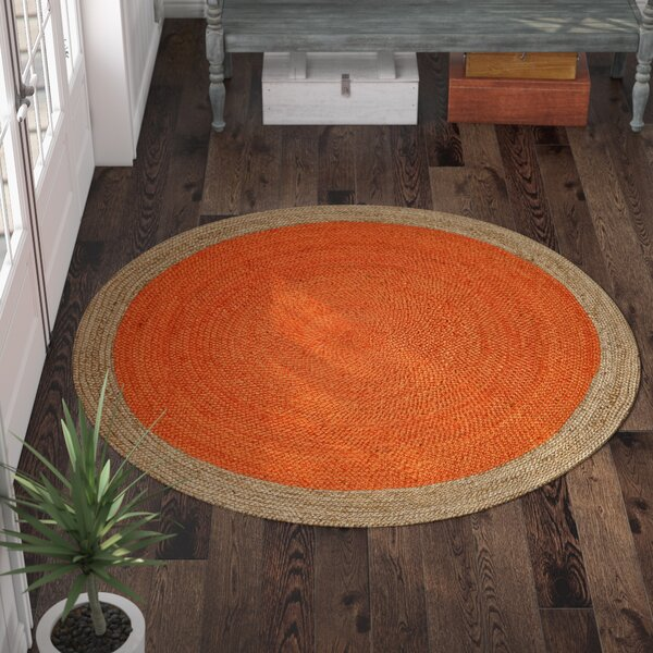 Cayla Fiber Hand-Woven Orange/Natural Area Rug by Beachcrest Home