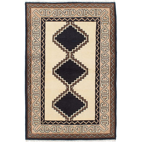 Kamryn Hand-Knotted Wool Black/Cream Area Rug by World Menagerie