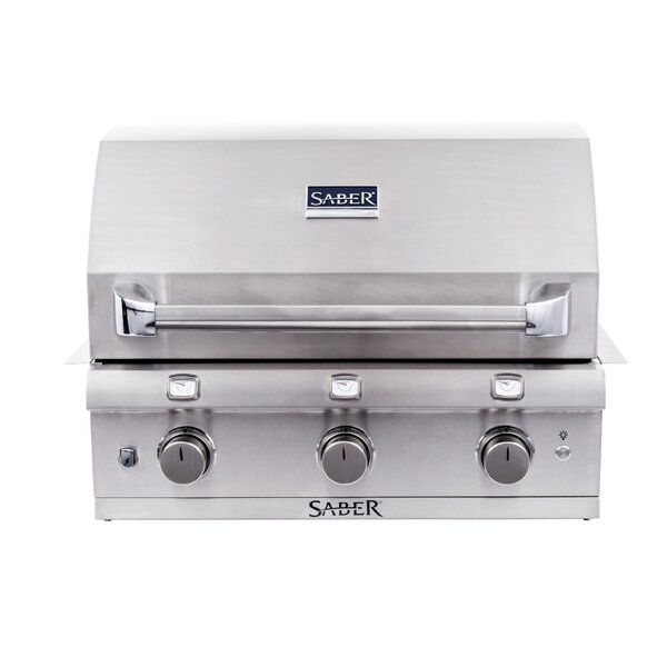 Built-In 3 Burner Gas and Charcoal Grill by Saber