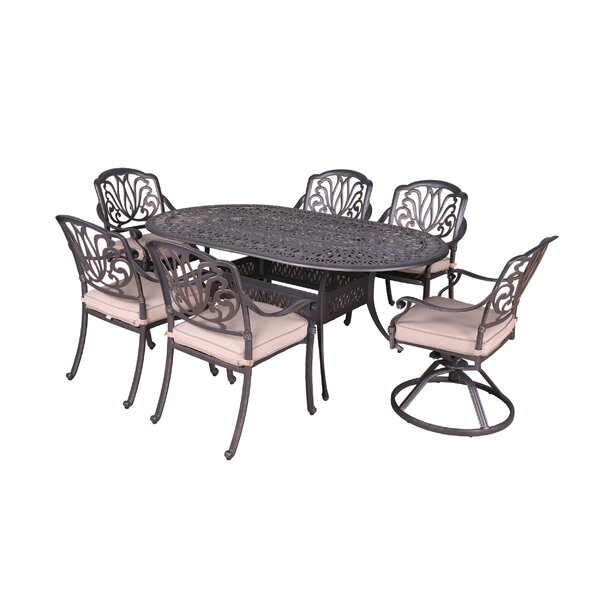 Gunter 7 Piece Dining Set with Sunbrella Cushions by Fleur De Lis Living
