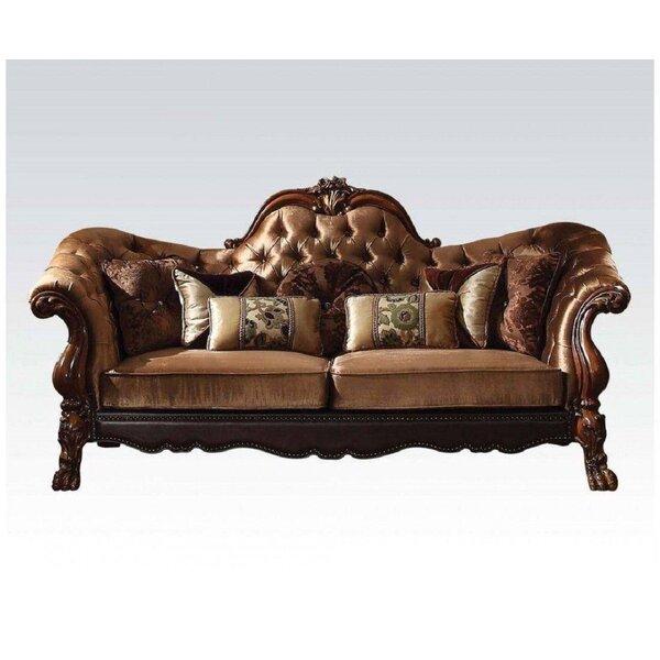 Golden Brown Velvet Loveseat With 5 Pillows by Astoria Grand Astoria Grand
