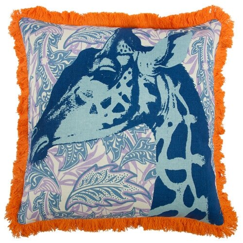 Giraffe 18 Linen Throw Pillow by Thomas Paul