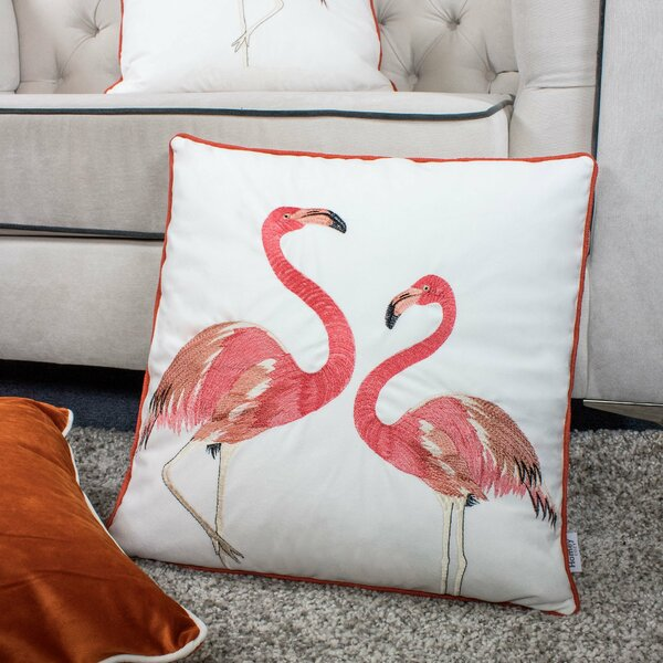 Bogazi Embroidery Flamingo Velvet Throw Pillow by Bay Isle Home