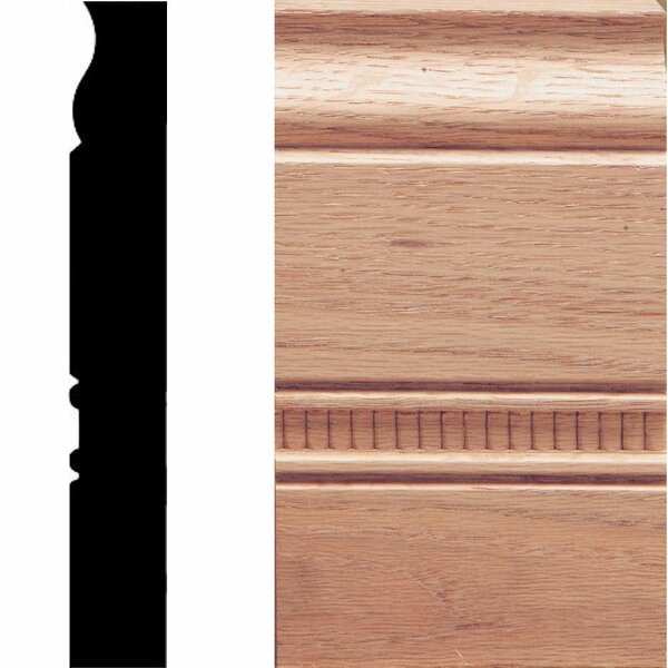 1 in. x 3-1/2 in. x 6 in. Oak Embossed Plinth Moulding by Manor House