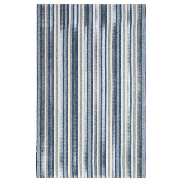 Ticking Stripe Hand-Woven Blue/White Indoor/Outdoor Area Rug by CompanyC
