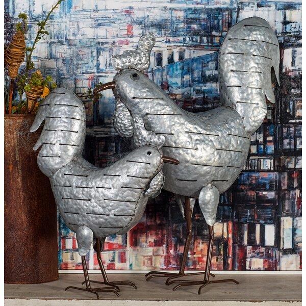 Ectasia Modern Galvanized Chicken 2 Piece Statue Set by August Grove