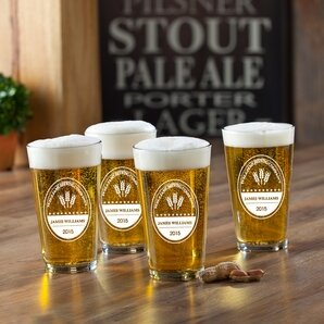 Brewing Company Printed Pub Beer Glasses (Set of 4) by JDS Personalized Gifts