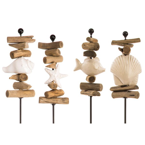Gibsonia Ocean Zen 4 Piece Garden Stake Set by Highland Dunes