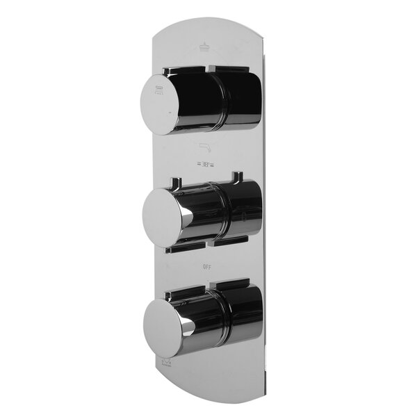 Concealed 3-Way Thermostatic Valve Shower Mixer with Round Knobs by Alfi Brand