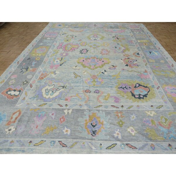 One-of-a-Kind Farley Hand-Knotted Blue/Green/Pink 10'1 x 14' Wool Area Rug