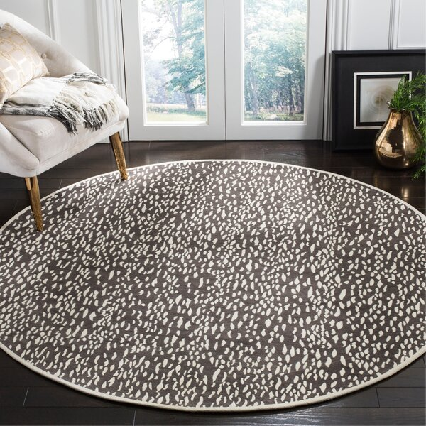 Ankit Hand Tufted Dark Grey/Ivory Area Rug by Everly Quinn
