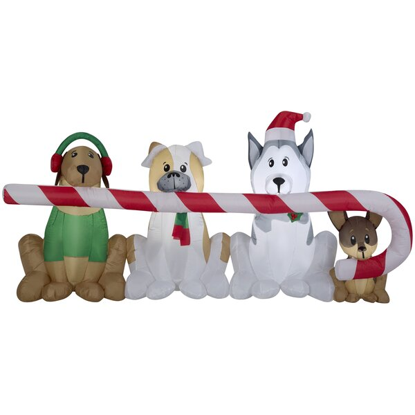 Puppies Sharing A Big Candy Cane Christmas Inflatable Oversized Figurine By The Holiday Aisle.