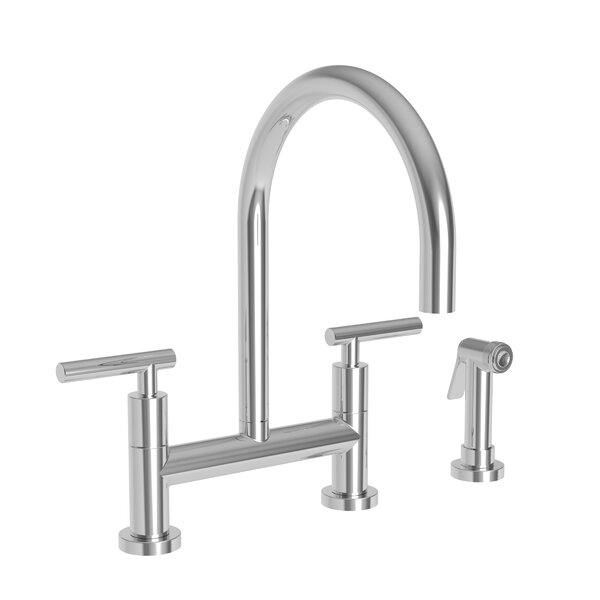 East Linear Kitchen Bridge Faucet With Side Spray By Newport Brass