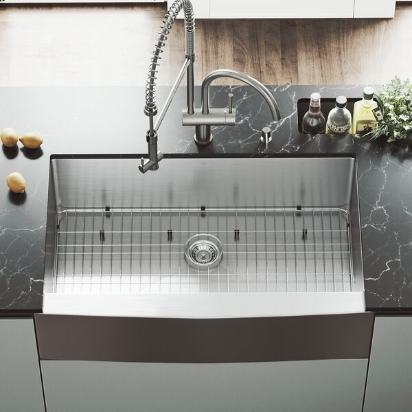 36 L x 22 W Farmhouse Kitchen Sink with Faucet, Grid, Strainer and Soap Dispenser by VIGO