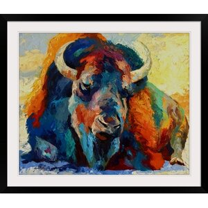 Winter Bison by Marion Rose Framed Painting Print by Great Big Canvas