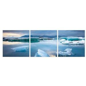 Jokulsarlon Glacier Lagoon 3 Piece Photographic Print Set by Furinno