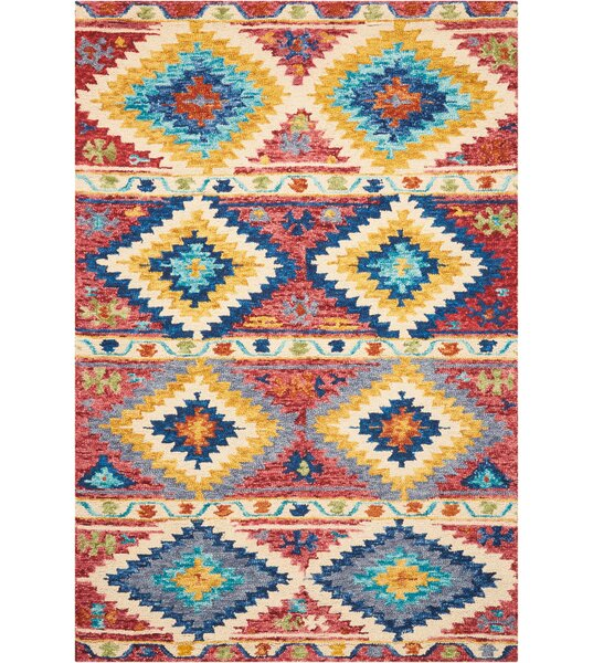Zosia Hand Tufted Wool Red/Yellow Area Rug by Bloomsbury Market
