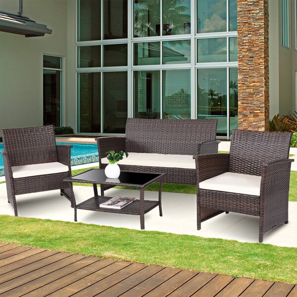 Brookside Outdoor 4 Piece Rattan Sofa Seating Group with Cushions by Latitude Run