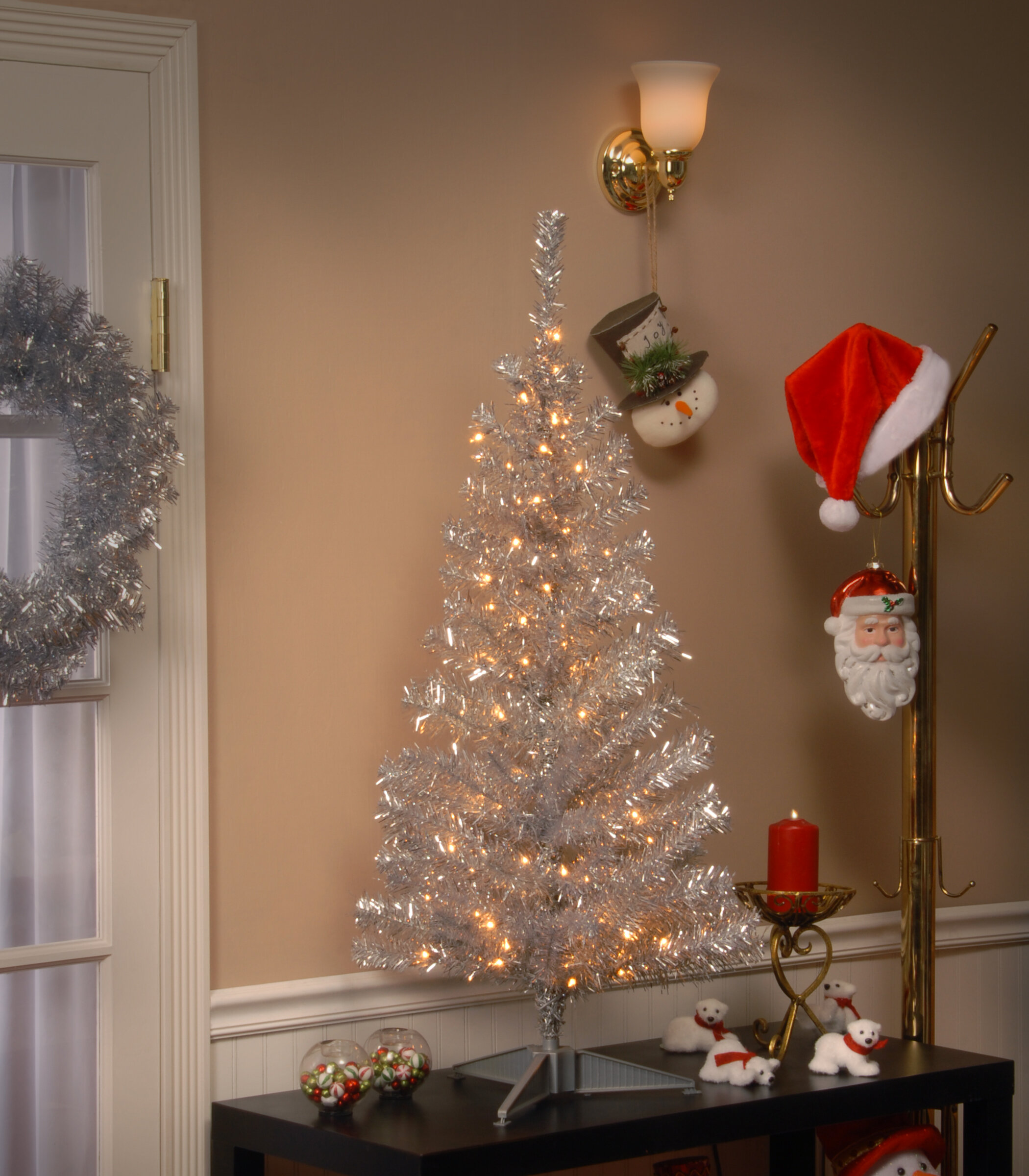 Tinsel Christmas Tree.The Holiday Aisle Tinsel Trees 4 Silver Artificial