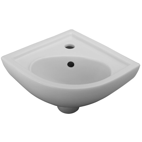 Vitreous China 18 Wall Mount Bathroom Sink with Overflow by Barclay