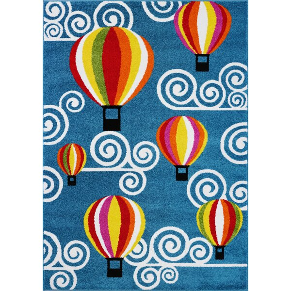 Kindig Hot Air Balloon Blue/Red Area Rug by Zoomie Kids
