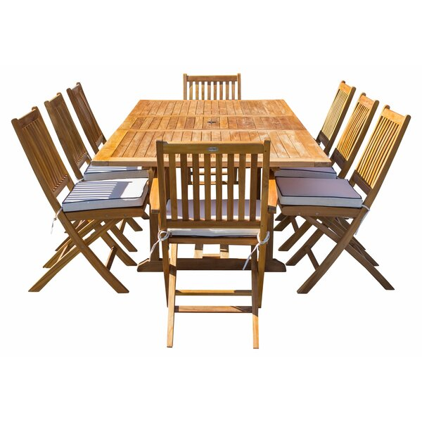 Everleigh 9 Piece Teak Sunbrella Dining Set with Sunbrella Cushions by Bay Isle Home