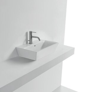 Best Reviews Jas Ceramic Rectangular Vessel Bathroom Sink with Overflow ByWS Bath Collections