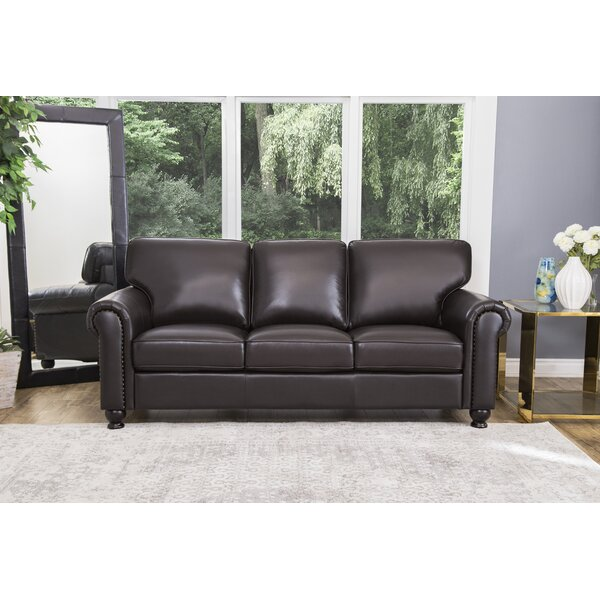 Coggins Leather Sofa by Darby Home Co