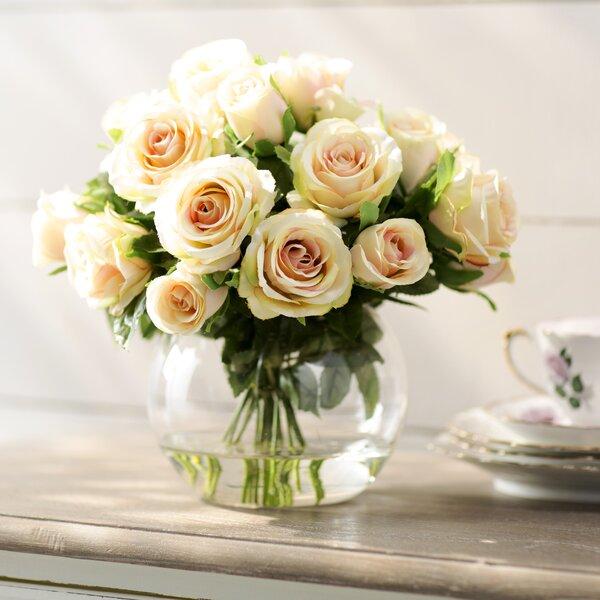 Sainte-Rose Creamy Peach Roses in Glass Cup Vase b