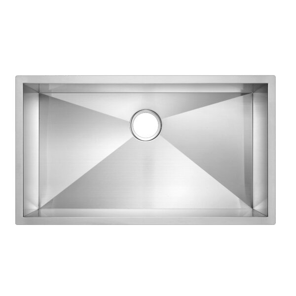 Zero Radius Stainless Steel 33 L x 19 W Single Undermount Kitchen Sink by dCOR design