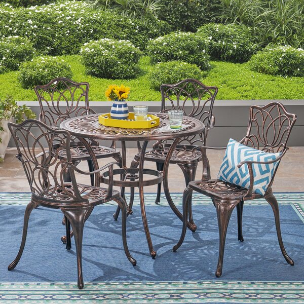 Brittnie Outdoor 5 Piece Dining Set by Fleur De Lis Living