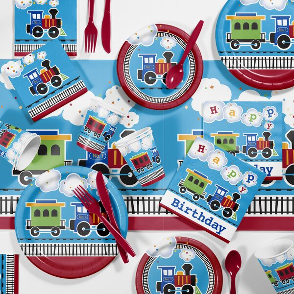 81 Piece All Aboard Birthday Paper Plastic Tableware Set By Creative Converting.