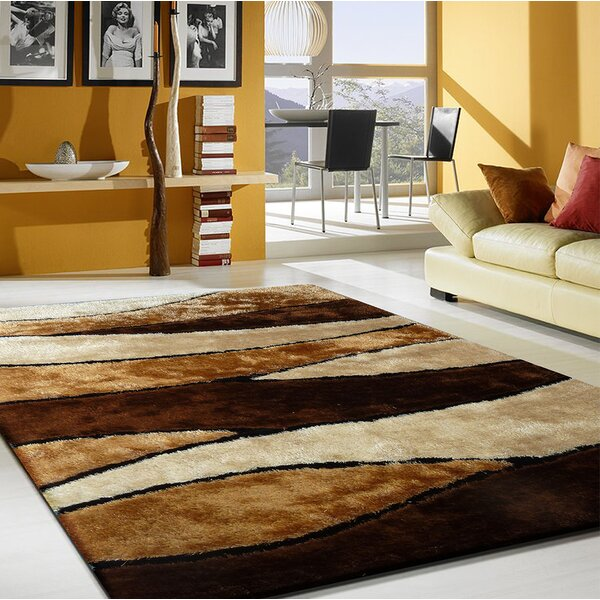 Quintanar Hand-Tufted Brown/Cream Area Rug by Latitude Run