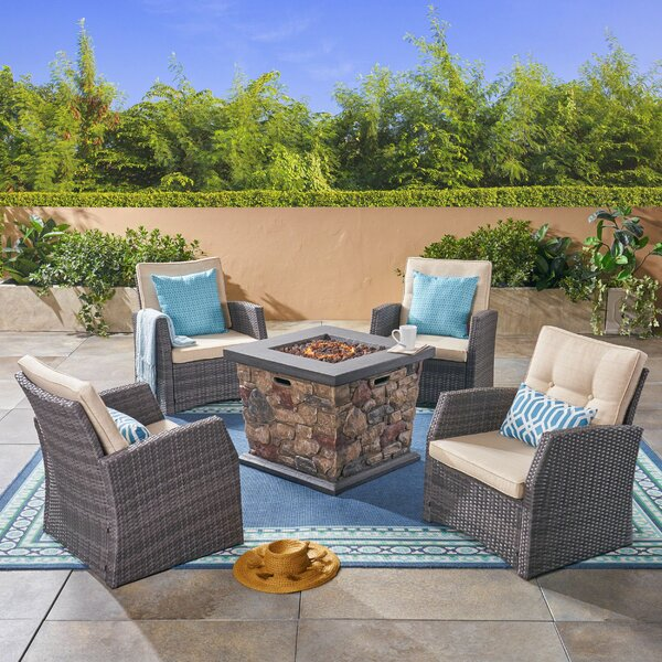 Loganville 5 Piece Rattan Sofa Seating Group with Cushions and Fire Pit by Rosecliff Heights