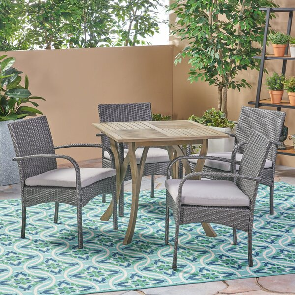 Mabie Outdoor 5 Piece Dining Set with Cushions by Bungalow Rose