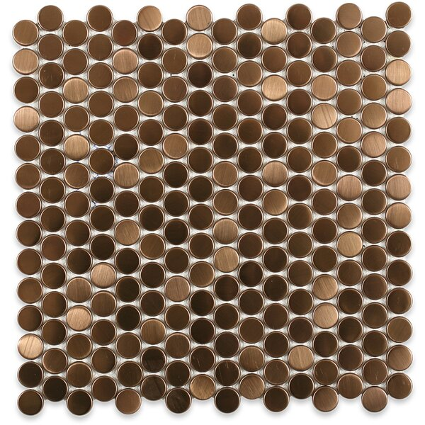 Stainless Steel 0.75 x 0.75 Metal Mosaic Tile in Brushed Copper by Splashback Tile