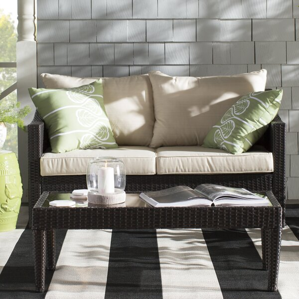 Harworth 2 Piece Rattan Sofa Set with Cushions by
