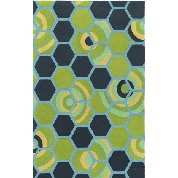 Kismet Honeycomb Hand-Tufted Green/Blue Area Rug by emma at home by Emma Gardner