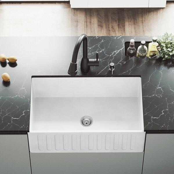 VIGO Matte Stone 30 L x 18 W Farmhouse Kitchen Sink with Faucet by VIGO