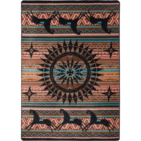 Johnny D Ghost Rider Turquoise Area Rug by American Dakota
