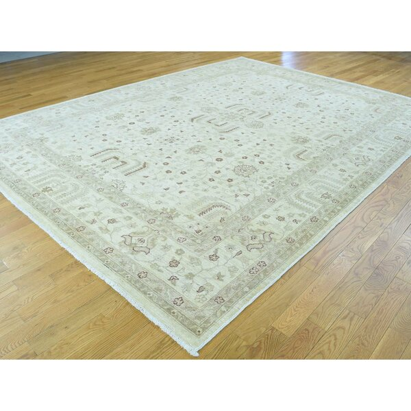 One-of-a-Kind Beaumont Wash Willow Tree Design Handwoven Ivory Wool Area Rug by Isabelline