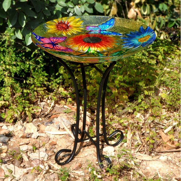 Floral Glass Butterfly Solar Birdbath with Stand by Hi-Line Gift Ltd.