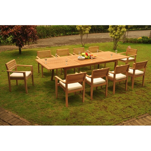 Loehr 11 Piece Teak Dining Set by Rosecliff Heights