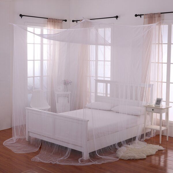 Harrelson 4-Post Bed Sheer Panel Canopy Net by Willa Arlo Interiors