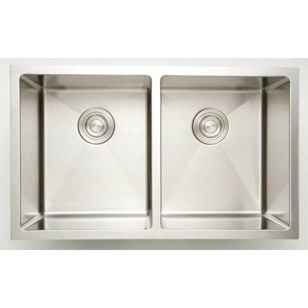 33 X 18 Double Basin Undermount Kitchen Sink with 18 Gauge