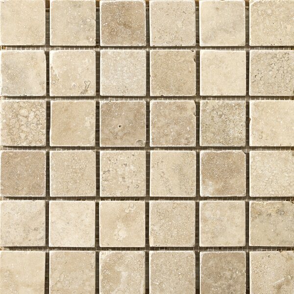 Travertine 2 x 2/12 x 12 Vino Tumbled Mosaic Tile in Cream by Emser Tile
