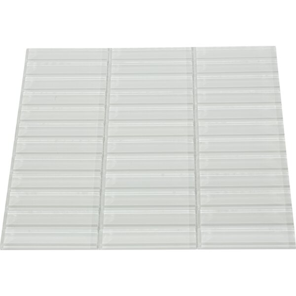 Contempo 1 x 4 Glass Mosaic Tile in White by Splashback Tile